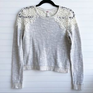 Forever21 Heather Crochet Lace Long Sleeve Sweater